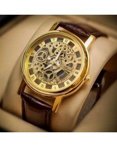 Royal 18 Round Dial Brown Leather Strap Quartz Watch For Men