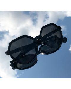 Fox Black Unisex hexagonal Sunglasses