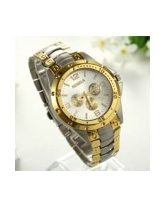 Rosra Golden Dial Men's Watch In Silver Gold Chain RSSG1