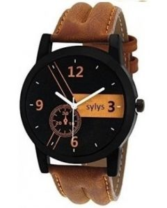 Sylys Trendy Casual  Analog Black Dial Brown Leather Strap Men Watch