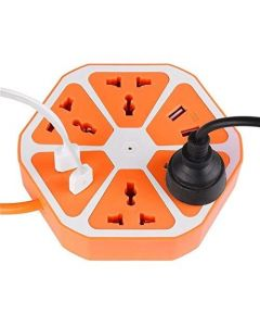 YOG 10 Amp Extension Board with 4 USB/Outlet Ports with 6 ft wire Surge Protection 2500W Multi-Faceted Safety Sockets (Orange Blue)