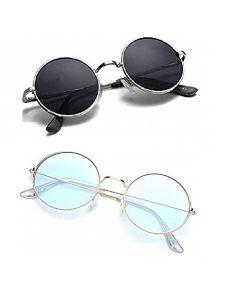 RENEW Round Unisex Sunglasses For Men And Women light blue & black