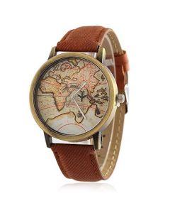 Cypher Round Mini World Map Unisex Stylish Denim Casual Wrist Watch For Men