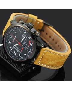Cypher Brown Strap Casual Analogue Black Dial Watch For Men cur-1
