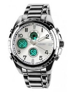 SKMEI 1030 Analog, Digital Multifunction Steel Chain Silver Dial Watch for Men