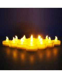Virat Flameless Pack of 12 LED Tealights Birthday/ Festival / Anniversary / All purpose (batteries included) High Quality Long Lasting