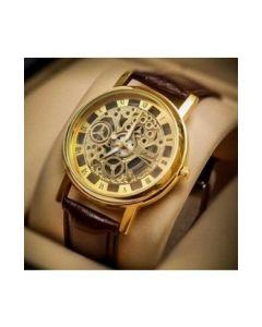 Cypher Golden Round Dial Brown Leather Strap Quartz Men's Watch