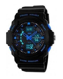 SKMEI 0955  Black Strap Analog-Digital Black Blue Dial Men's Watch-AD0955