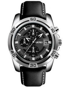 Skmei 9156 Chronograph Leather Strap Men Quartz Wrist Watch
