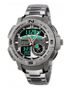 Skmei 1109 Analog-Digital Multi-functional Silver Chain Silver Dial Men's Watch