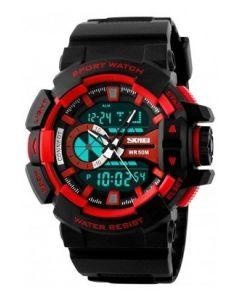SKMEI 1117 Black Strap Analog Digital Black Dial Men's Watch AD