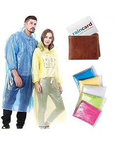 Rain Card Unisex Disposable Pocket Size Easy to Carry Digi Raincoat (Pink, Blue, Yellow, Free Size)