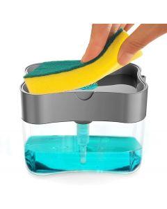 2 in 1 Soap Pump Plastic Dispenser for Dishwasher Liquid; Holder (Random Colour; Standard; 385ml) Free Sponge