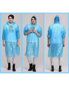 Rain Card Unisex Disposable Pocket Size Easy to Carry Raincoat - (Pink, Blue, Yellow - Random Color Free Size Pack of 10)