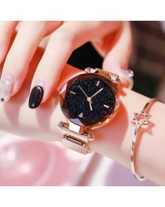 Round Analogue Women's Watch (Black Dial Rose Gold Colored Strap) For Girls