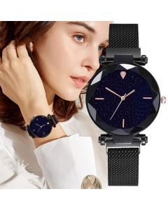 Round Analogue Women's Watch (Black Dial Black Colored Strap) For Girls