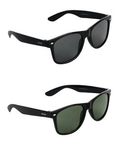 CostaRica Black & Green Rectangular Sunglasses Combo with UV Protection