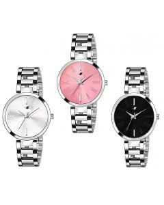 IIK Analog Stainless Steel Combo Pack of 3 Multi Color Dial Girl's and Women's Watch