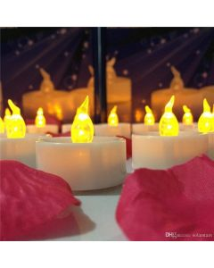Virat Flameless Orange Color Pack of 6 LED Tealights Birthday/ Festival / Anniversary / All purpose (batteries included) High Quality Long Lasting