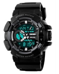 Skmei 1117 Black Strap Analog-Digital Black  Grey Dial Men's Watch