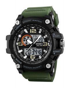 Skmei 1283 Black Dial Army Green Strap Analogue-Digital Men's & Boy's khaki Green Watch