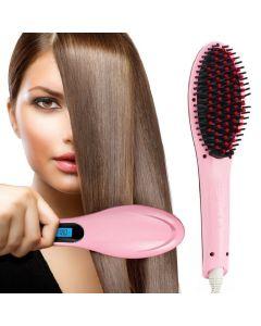 Virat Fast Hair Straightener Brush with Temperature (Pink)