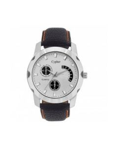 Cypher Blue Leather Analogue White Dial Men's Watch C3