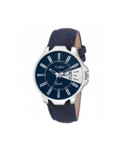 Cypher Blue Leather Silver Blue Dial Analogue Boys And Mens Watch c3