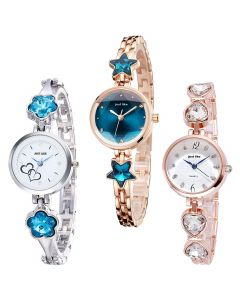 Caser Analog Pack of 3 Metal Strap Casual Watch for Women and Girls Watch