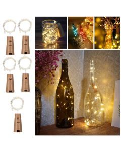 5Pcs Wine Bottle Lights with Cork Copper Wire String Lights,2M Battery Operated Fairy Light for Diwali Warm White