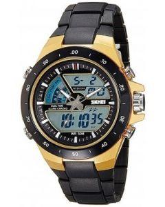 Skmei 1016 Gold Dial Analogue Digital Black Chain Unisex Watch