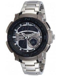 Skmei 1121 Analog-Digital Multi-functional Silver Chain Black Dial Men's Watch