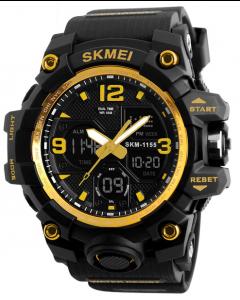 Skmei 1155 Gold Dial Digital-Analog Chronograph Yellow Men's Sports Watch