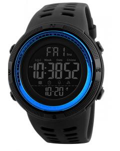 Skmei 1251 Blue Chronograph Sports Digital Dial Men's Watch With Water Resistant, Alarm, Stopwatch, LED Light, Dual Time
