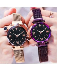 Round Diamond Dial with Purple & Rosegold Magnet Belt Analogue Watch for Women, Girls Pack of - 2