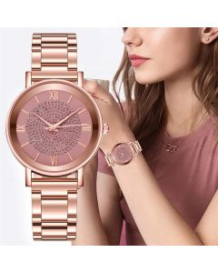 Shopolic Girls Rose Gold-Toned & Pink Analogue Watch SDS 107 PINK For Women