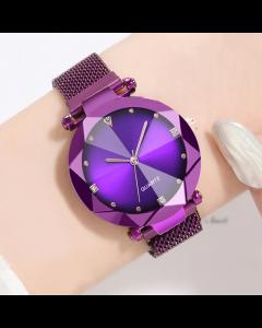 Round Diamond Dial Purple Magnet Belt Analogue Watch for Women,Girls