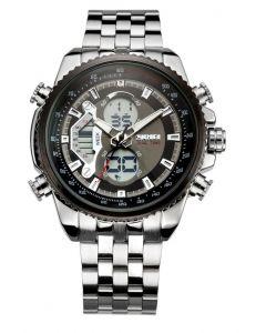 Skmei 0933 Silver Chain Chronograph Analog - Digital Black Dial Men's Watch - AD