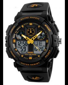 Skmei 1270 S-Shock Gold Yellow Analog Digital Sports Watch for Men's & Boys
