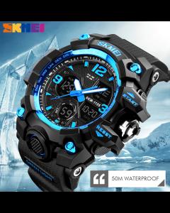 Skmei 1155 Blue Watch KMEI 1155 BLACK-BLUE DIAL Sports Analog Premium Quality Stylist Analog-Digital Watch - For Boys