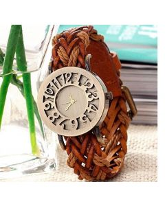 Cypher Vintage Brown Strap Analogue Casual Gold Dial Watch For Women and Girls VB2124