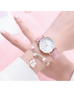 Shopolic Girls Rose Gold-Toned & Pink Analogue Watch For Women, Ladies