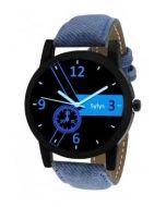Quartz Blue Strap Analog Black Round Dial Men's Watch