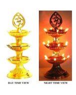 Virat Om Diya deepak jyot / jyoti lights Diwali Electric Gold Diya/Deepak Rice Light Bulb Lamp for Pooja/Puja 3 Floor With 3 Months Warranty