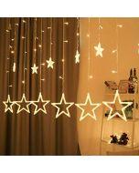 Nano 12 Stars LED Curtain String Warm Lights Window Curtain Led Lights for Decoration with 8 Flashing for Diwali Christmas, Wedding