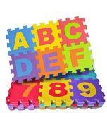 Super Toy 36 Pieces Puzzle Foam Mat for Kids, Interlocking Learning Alphabet and Number Mat for Kids - Multicolor