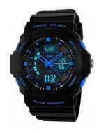 SKMEI 0955  Black Strap Analog-Digital Black Blue Dial Men's Watch-AD0955