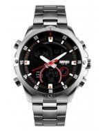 Skmei 1146 Analogue Digital Silver Chain Black Dial Men's Watch