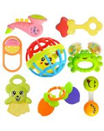 Colorful Attractive Plastic Non Toxic Set of 7 Shake & Grab Rattle and 1 Soothing Teether for New Born and Infants (Pack of 8 , Multicolor)