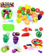 WMac Realistic Sliceable Fruits and Vegetable Cutting Toys for Kids, Girls, Fruits Cutting Play with Basket & Knife - 14 PCS